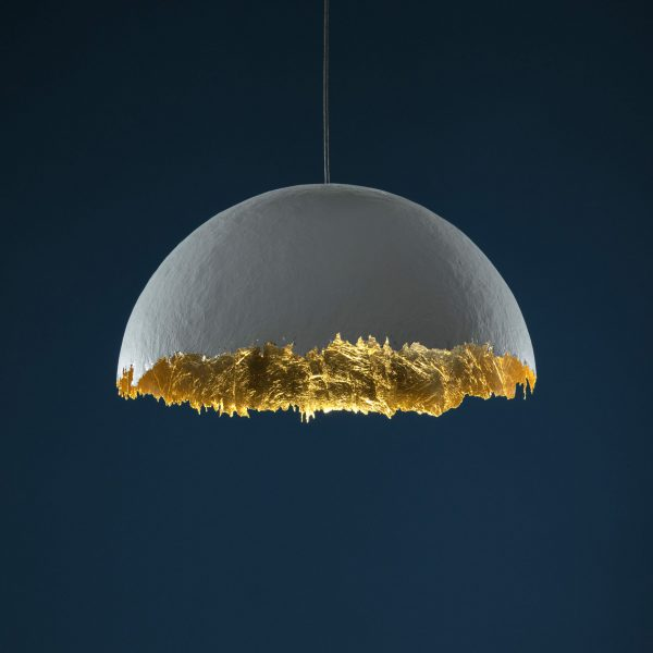 PostKrisi 49 Suspension Lamp - / Ø 60 cm White   Gold Catellani & Smith Enzo Catellani