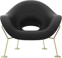 Pupa Black Armchair | Qeeboo Brass Andrea Branzi 1