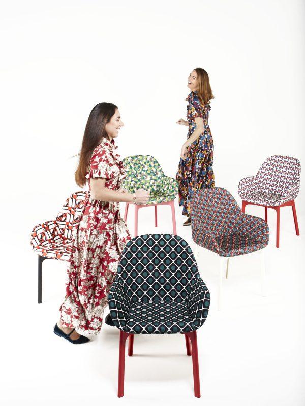 Clap La Double J upholstered armchair Black   Pic-Nic Kartell Patricia Urquiola 2
