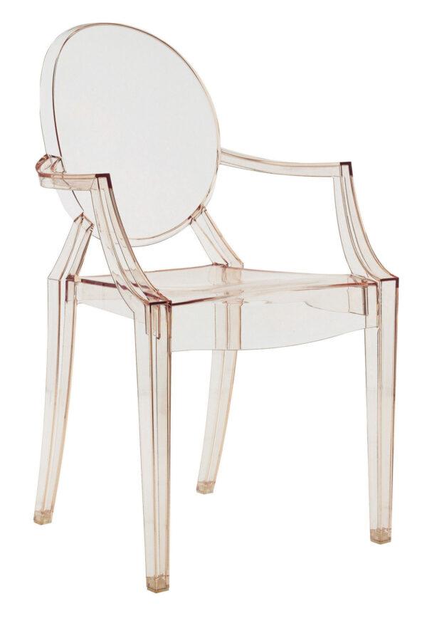 Stapelbarer Sessel Louis Ghost Transparent orange Kartell Philippe Starck 1
