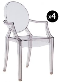 Louis Ghostスタッカブルアームチェア-4個セットFuméKartell Philippe Starck 1