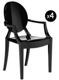 Louis Ghostスタッカブルアームチェア-マットブラック4個セットKartell Philippe Starck 1
