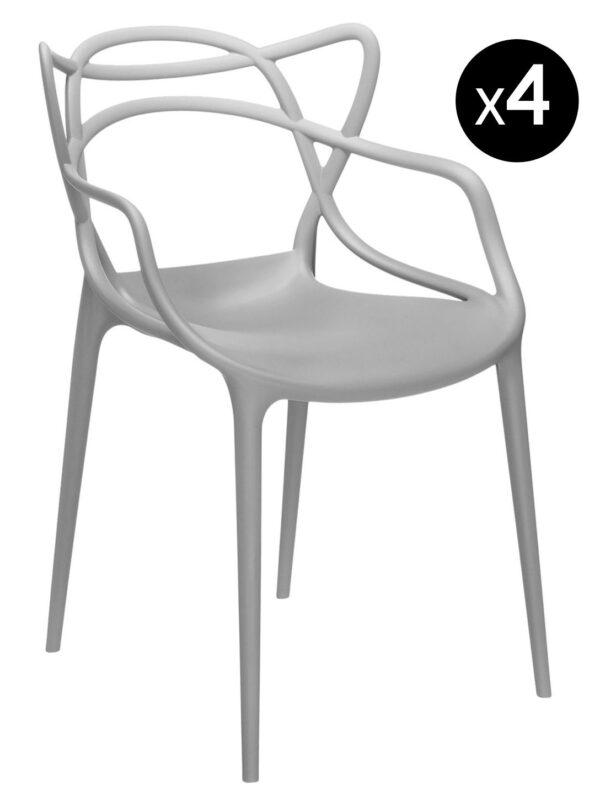 Fauteuil empilable Masters - Lot de 4 Kartell Philippe Starck gris clair | Eugeni Quitllet 1