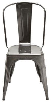 Ein Stuhl / Edelstahl Rohglas dunkle Farbe Tolix Xavier Pauchard 1