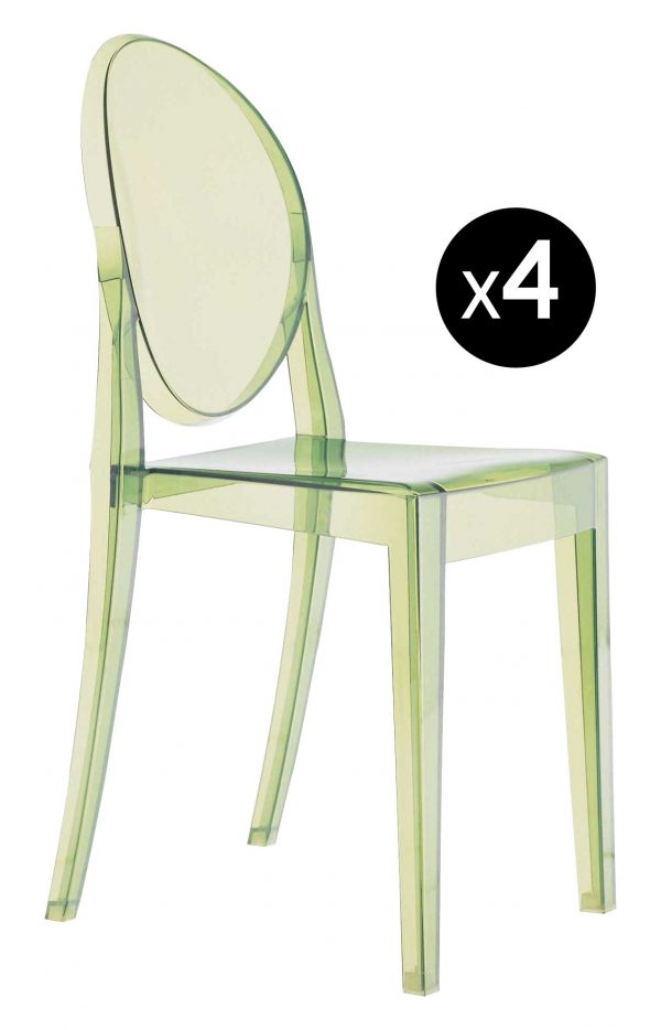 Stapelbarer Stuhl Victoria Ghost - 4er-Set Green Kartell Philippe Starck 1