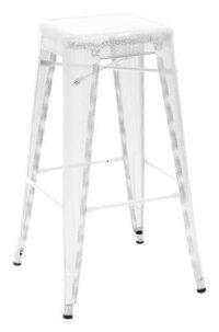 Tabouret haut H - Blanc Tolix Chantal Andriot 75 1 cm H