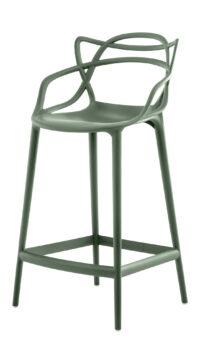 Sgabello alto Masters - H 65 cm Verde salvia Kartell Philippe Starck|Eugeni Quitllet 1
