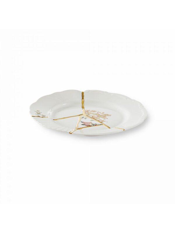 Kintsugi Dessert Plate Multicolored Motifs White   Multicolored   Gold Seletti Marcantonio Raimondi Malerba