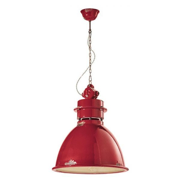 Industrial C1750 Red Suspension Lamp by Ferroluce 1