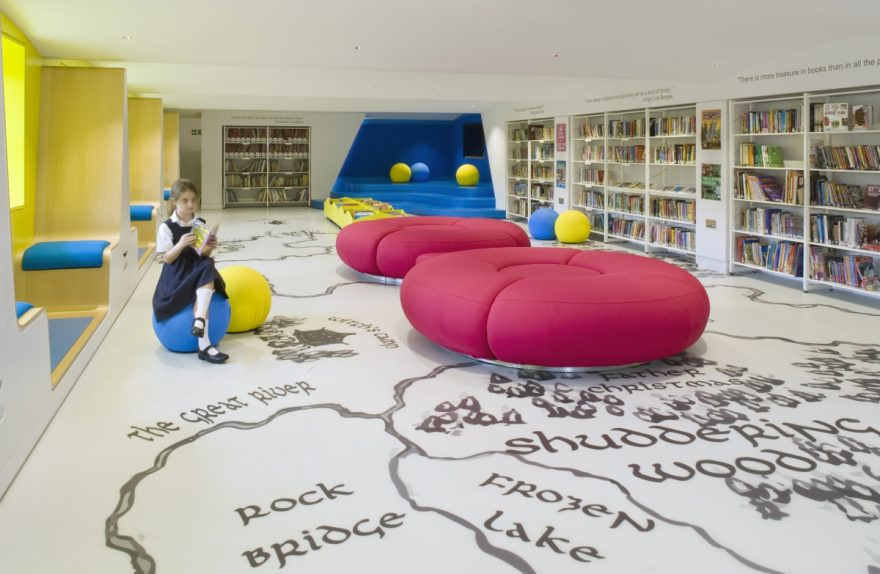 children's library Thomas's London Day School by Hugh Broughton Architects and HI-MACS