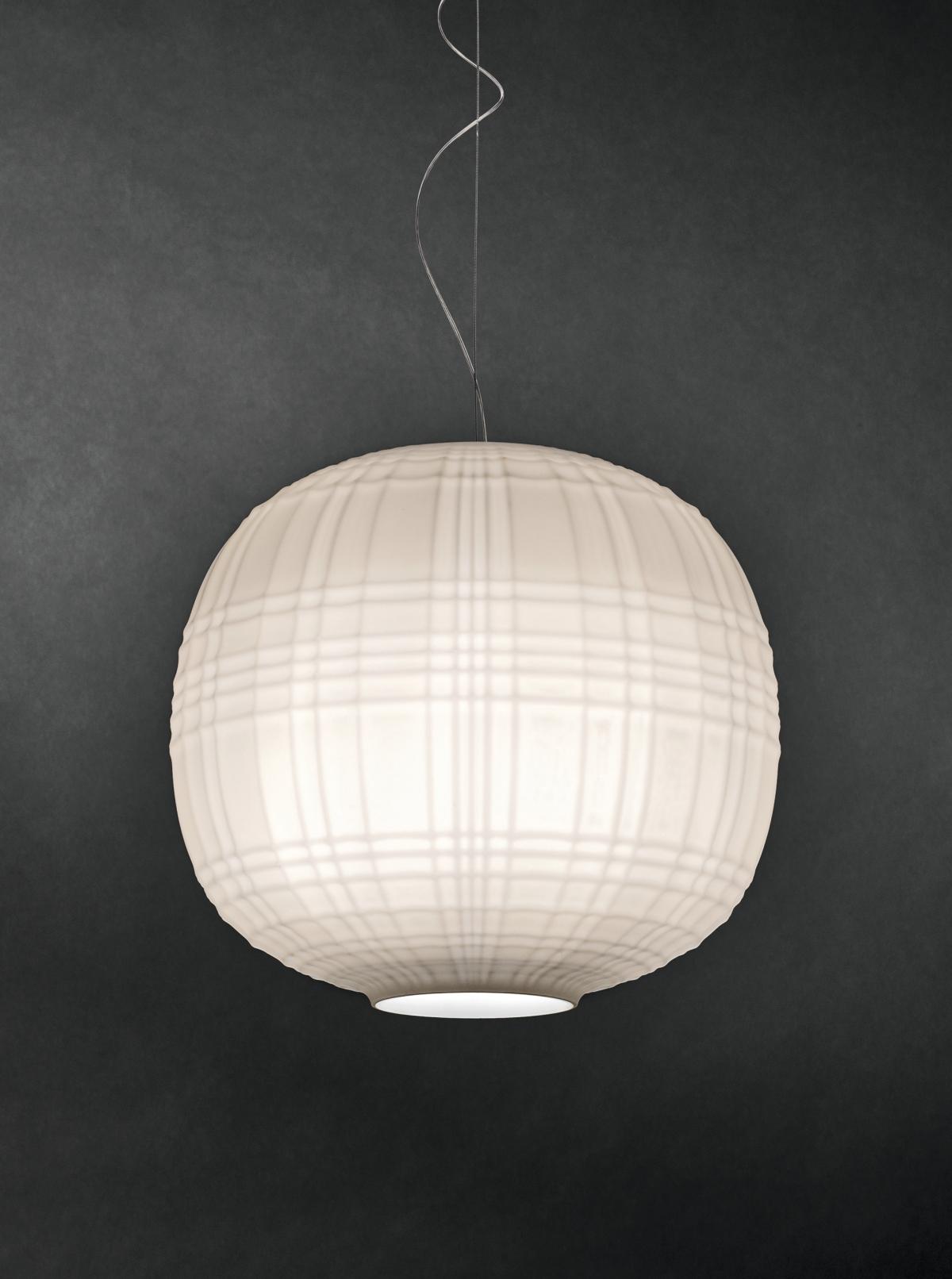 Tartan lamp in blown glass still