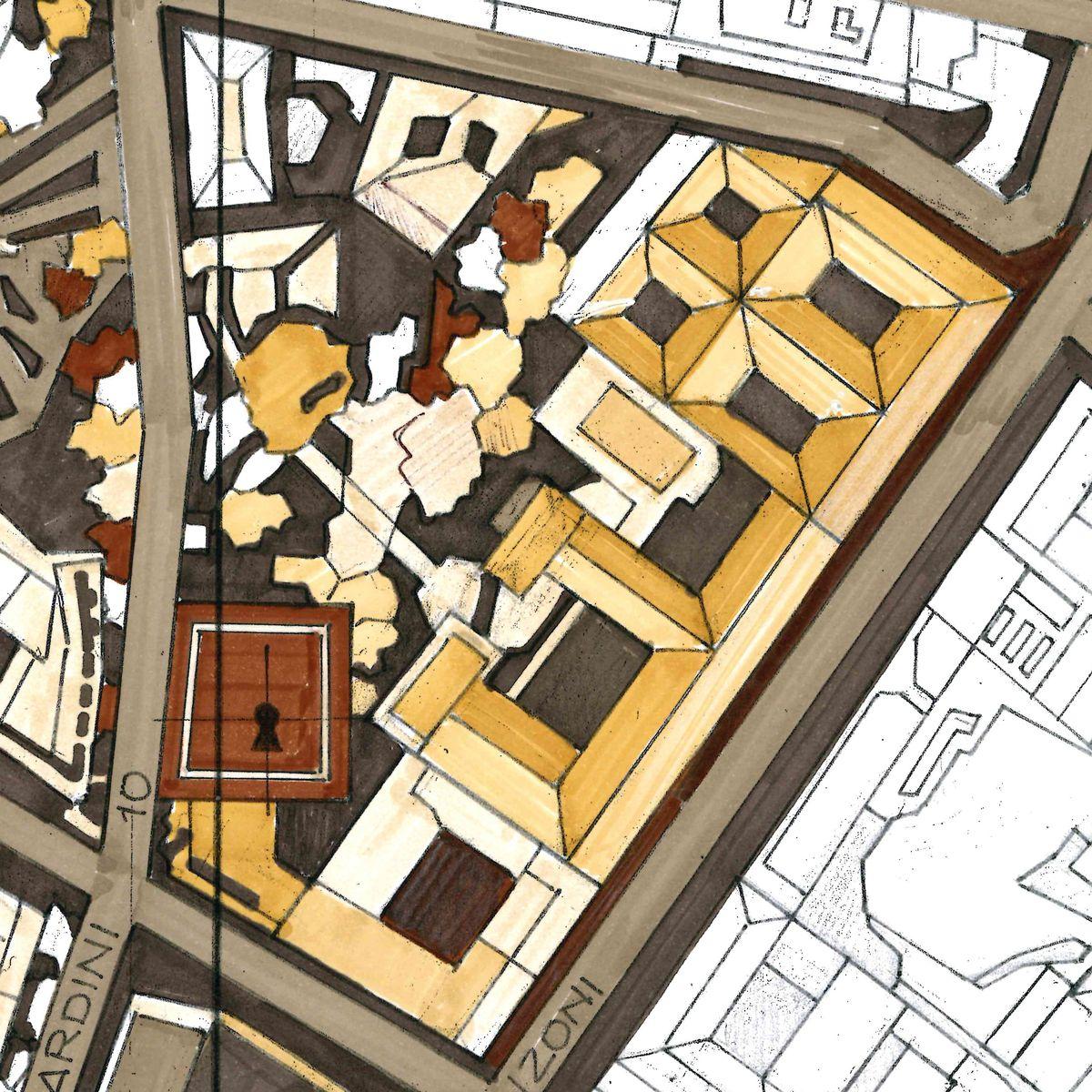Toncelli Columna Vino Milán, dibujo