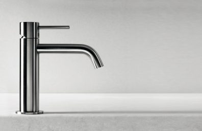 Rubinetto al piano CleoSteel 48 per lavabo, misura M. Finitura Acciaio Inox Spazzolato