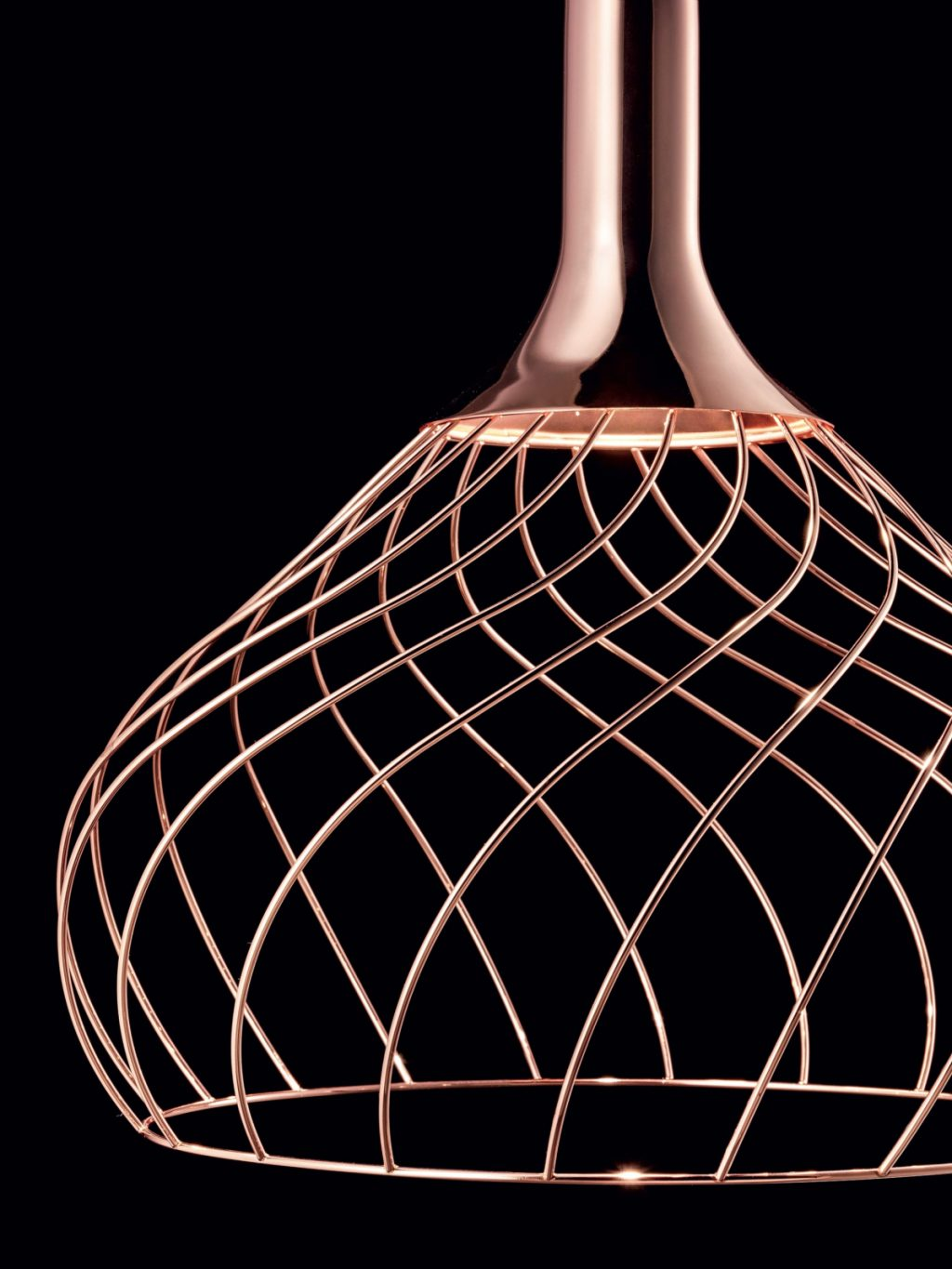 Suspended chandelier Mongolfier Linea Light Group copper, detail